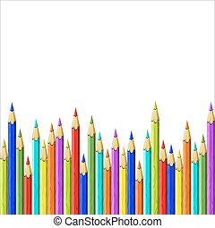 colored pencils - set of colored pencils on white background...