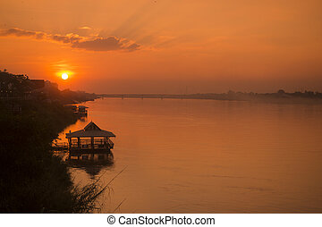 THAILAND ISAN NONG KHAI MEKONG RIVER - the landscape of the...