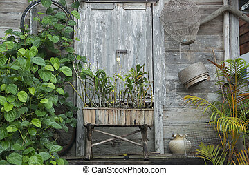 THAILAND ISAN CHIANG KHAN OLD TOWN - old wood houses in the...