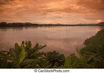THAILAND ISAN CHIANG KHAN MEKONG RIVER - the landscape of...