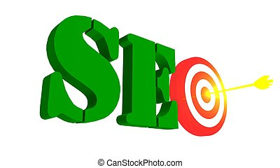 SEO with target and arrow in the bulleye, 3D illustration -...