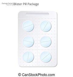 Blue Pills Blister Package. - Vector Illustration of Blister...