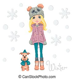 Vector cute girl with dog - Vector Cute beautiful...