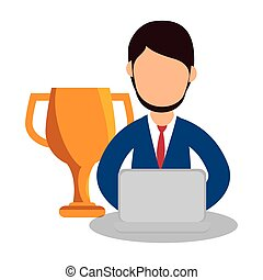 business people with trophy award training icon