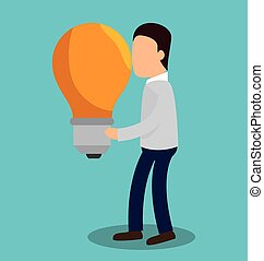 business people with bulb light training icon