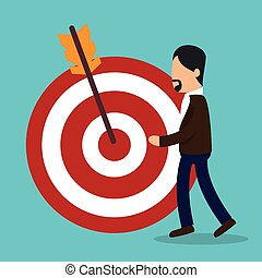 business people with target arrow training icon