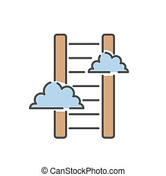 Career ladder thin line icon vector. - Career ladder thin...
