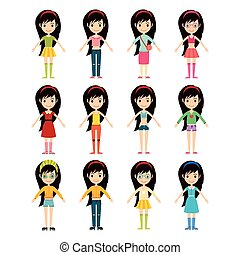 Beautiful cartoon fashion girl cloth constructor. -...