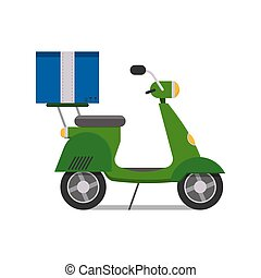 Delivery scooter transport cargo logistic vector illustration.