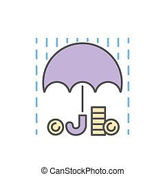 Money rain and umbrella sign icon vector isolated
