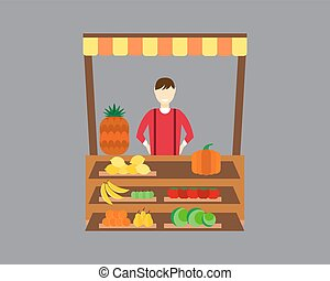 Street seller with stall fruits and vegetables vector...