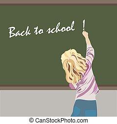 Little girl writing on a school board