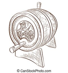 Wine barrel isolated on white - Wine barrel Vector isolated...