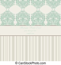 Baroque Vintage Card - Baroque Vintage Vector Card. Damask...