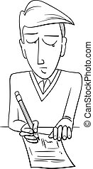 student doing test coloring page