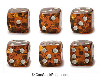 Dice set - Dice with different numbers set isolated on white...