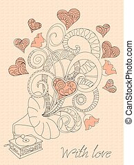 retro music with love - Festive romantic card with doodle...
