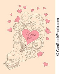 music love you - Festive romantic card with doodle drawing...