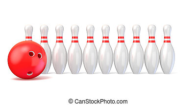 Bowling pins lined and bowling ball. 3D render illustration...