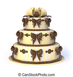 Three floors yellow cake with ribbon bows. 3D render...