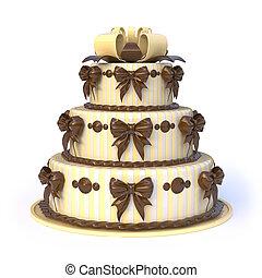 Tre, archi, pavimenti, giallo, torta, nastro,  3D
