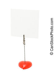 Blank note stand with heart shaped base isolated