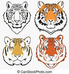 Tiger logo set vector. Mascot head, wild animal portrait...