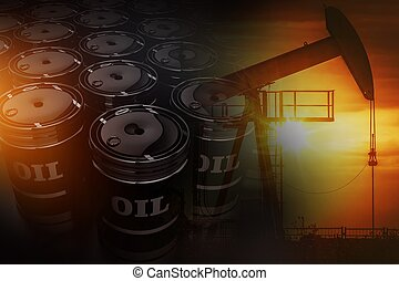 Crude Oil Reserves Concept with 3D Rendered Oil Barrels and...