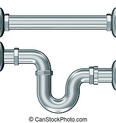 pipes elbow wc - 3d illustration render, hydraulic pipes...