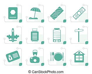 Stylized Travel, Holiday and Trip Icons -  Vector Icon Set