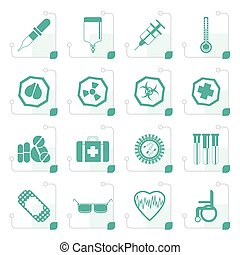 Stylized Simple  medical themed icons and warning-signs
