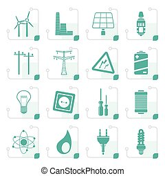 Stylized Electricity, power and energy icons - vector icon...