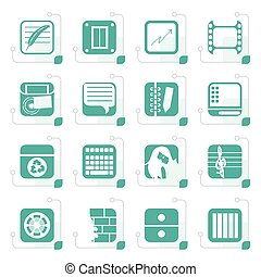 Stylized Business, Office and Mobile phone icons