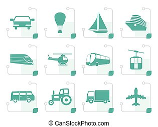 Stylized Transportation and travel icons - vector icon set