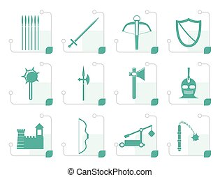 Stylized medieval arms and objects icons