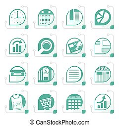 Stylized Business and Office Internet Icons - Vector Icon...