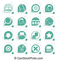 Stylized Internet and Website Icons - Vector Icon Set