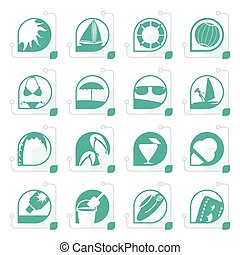Stylized Simple Summer and Holiday Icons