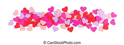 Valentines Day border of paper hearts isolated