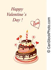 Valentine cake - Festive colorful greeting card with tier...