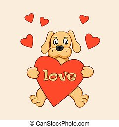 puppy with love and red heart - Cartoon dog with hearts and...