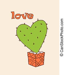 green cactus-heart in the flower pot - Isolated doodle...