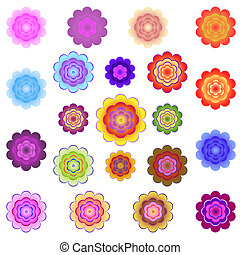 Templates of bright colored stylized flowers on a white...