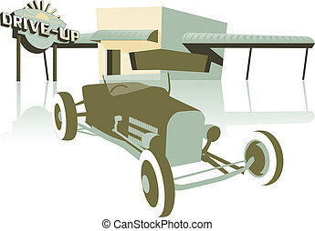 Drive Up - Retro looking illustration of a hot rod sitting...