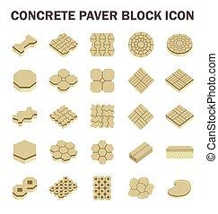 Paver Block Floor - Concrete paver block floor vector icon...