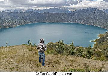 Kid Watching the View at Quilotoa Lake, Ecuador