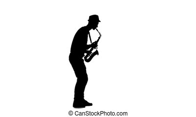 Jazz melodies performed by musician on the saxophone. Slow...
