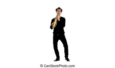 Solo on the saxophone musician performed in slow motion -...