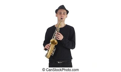 Saxophonist in the hat plays a tune on the sax, man musician...