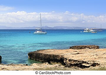 Illetes view from Savina port Formentera balearic islands...
